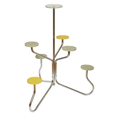 Kovona Flowerstand on bent metal tubes with plastic & one glass top, 1950s