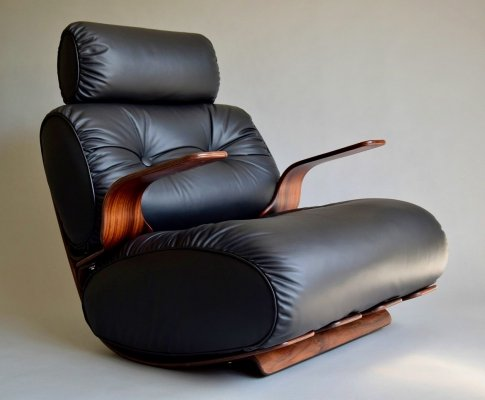 French Rocking chair in Plywood & Leather, 1970s