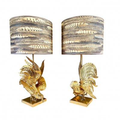 Pair of Brass 'Fighting' Roosters Table Lamps, 1960s