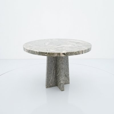Round Brutalist Style Granite Dining Table, 1970s