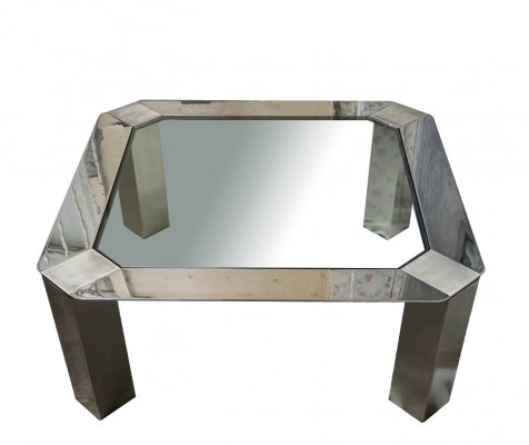 Coffe Table in Stainless Steel & Glass Top, 1970s