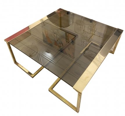 Hollywood regency style Side table or coffee table with brass structure, 1970s
