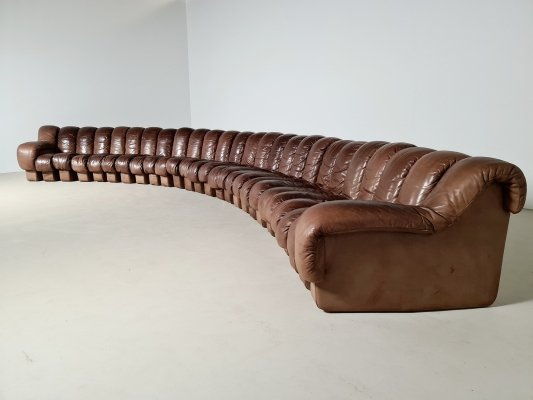 Large vintage De Sede DS-600 sofa in full leather, 1970s