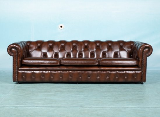 Vintage Cognac Lesther 3-4 seater Springvale chesterfield sofa, 1980s