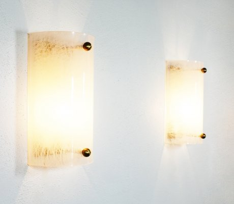 Pair of Lucite & Brass Wall Scones, Germany 1970's