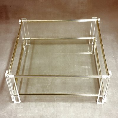 Square Lucite & gold 2-Tier coffee table with glass tops, Italy 1970s