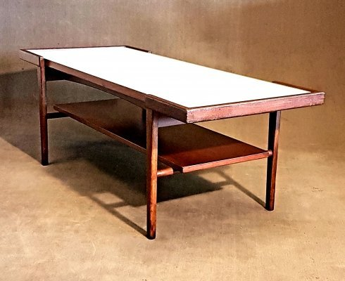 Scandinavian coffee table with reversible top in laminated formica & teak
