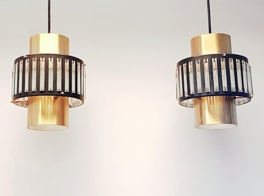 Set of 2 hanging lamps with glass tubes by Schmahl & Schulz, 1960s