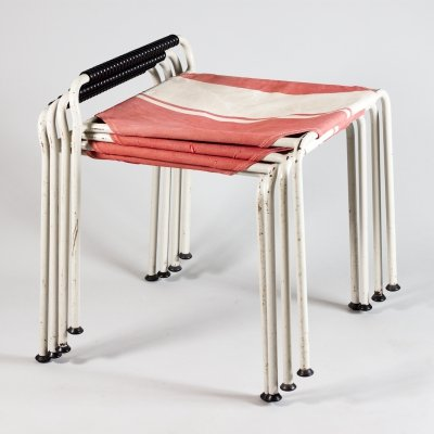 Mid-Century Modern Stackable Stools by Aarne Ervi for Merivaara Oy, Finland