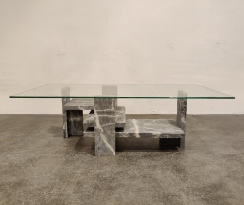 Vintage grey marble coffee table by Willy Ballez, 1970s
