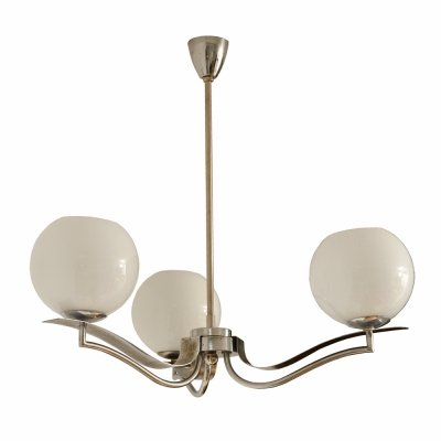 Art deco three-point ceiling lamp in chrome & glass, 1930s