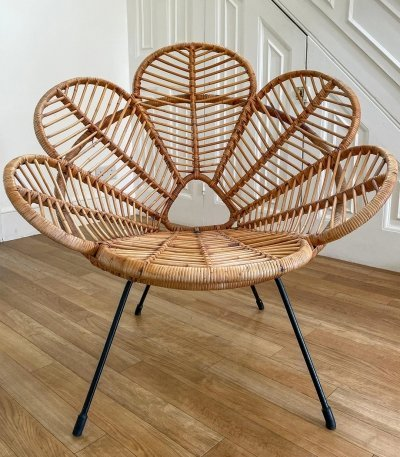 French Cane And Raffia Petal Shaped Flower Chair