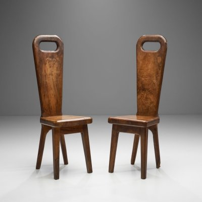 Olive Wood High Back French Chairs, France 1970s