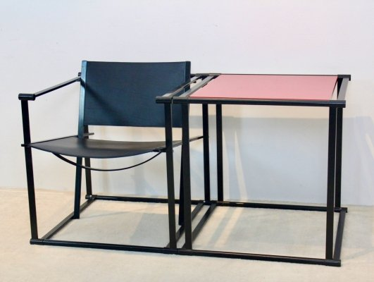 FM62 Cubic Leather Lounge Chair & Matching Table by Radboud van Beekum
