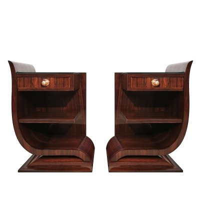 Pair of Art Deco rounded night stands, France 1930