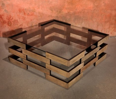 Mid Century Modern Sculptural Geometric Wooden Coffee Table With Glass Top