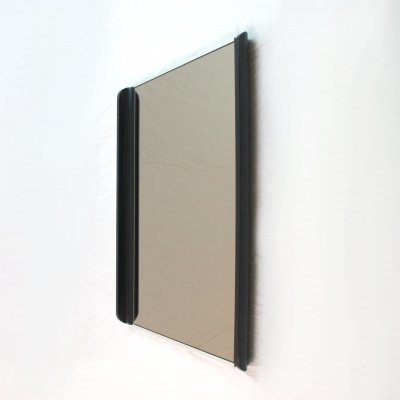 Italian 70's rectangular smoked mirror with wooden side