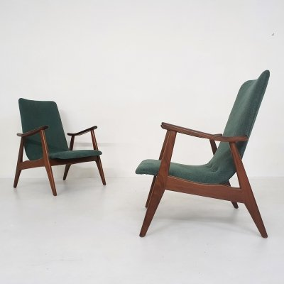 Set of two Louis van Teeffelen for Webe lounge chairs, The Netherlands 1960's