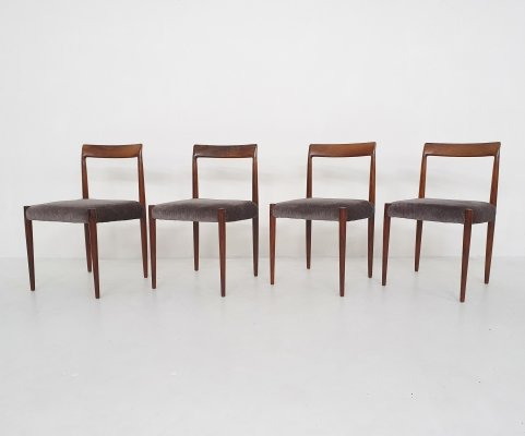 Set of four rosewood dining chairs by Lubke, Germany 1960's