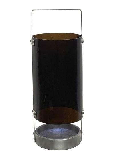 Umbrella stand in chromed metal & smoked perspex, 1970s