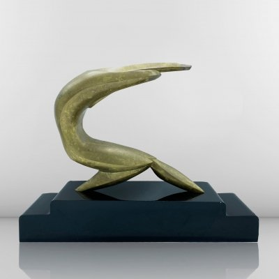Modernist bronze sculpture by M.Dela depicting a man in a gymnastic position, 1960s