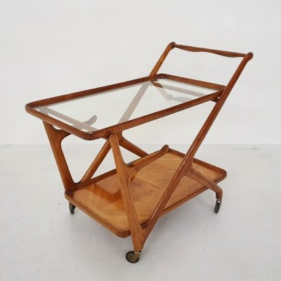 Ceder wooden bar cart / trolley by Cesare Lacca, Italy 1950's