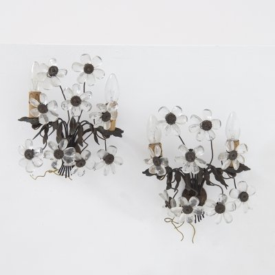 Pair of Italian Floral Sconces in Brass & Crystal