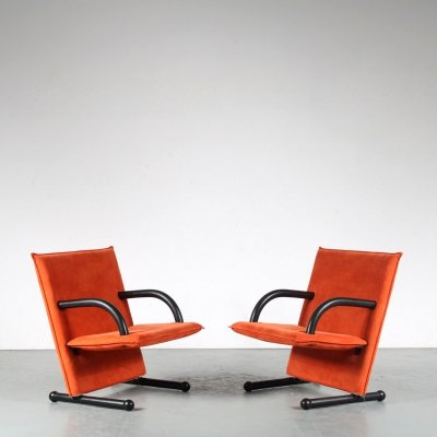 1980s Pair of T-Line chairs by Burkhard Voghterr for Arflex, Italy