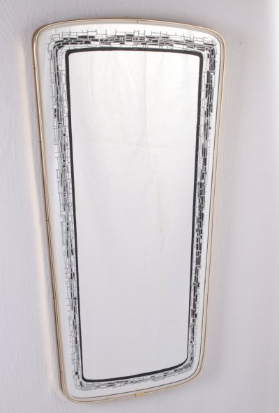 Vintage Elongated Wall Mirror with black gray decorative edge