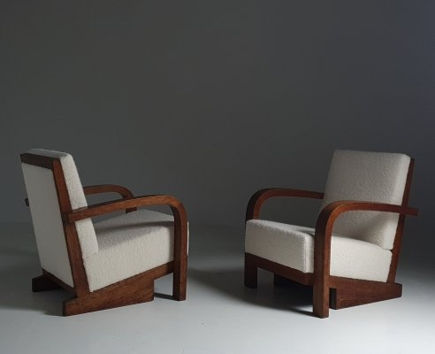 Rare set of Art Deco chairs in Alaska Boucle, 1930s