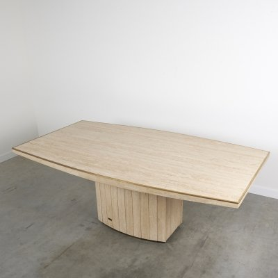 Travertine dining table by Willy Rizzo for Jean Charles, 1970s