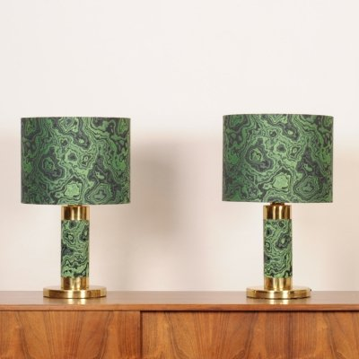Set of 2 Italian brass vintage 1970's table lamps