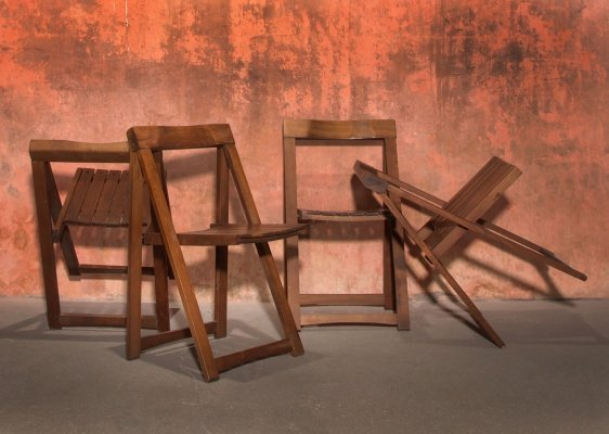 Set of 4 Dark Brown Folding Chairs by Aldo Jacober for Bazzani, 70s