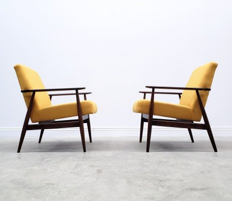 Pair of 1960 Henryk Lis Mid Century Armchairs in Yellow
