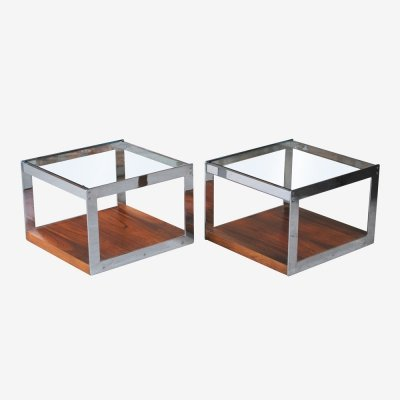 Pair of Midcentury Chrome & Rosewood Side Tables by Merrow Associates, c.1960