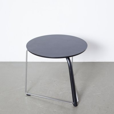 Black Round Side Table by Wulf Schneider & Ulrich Böhme for Thonet, 1980s