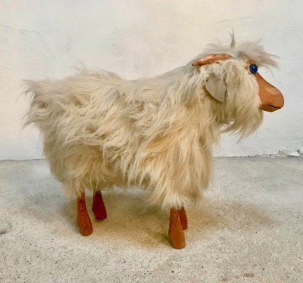 Vintage German Pinewood Goat Sculpture with Real Fur & Leather, 1970s