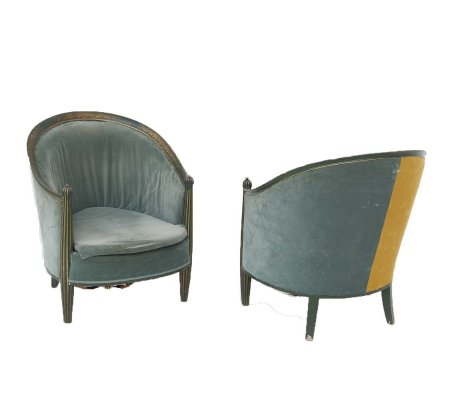 Pair of French Armchairs in Green & Yellow Velvet