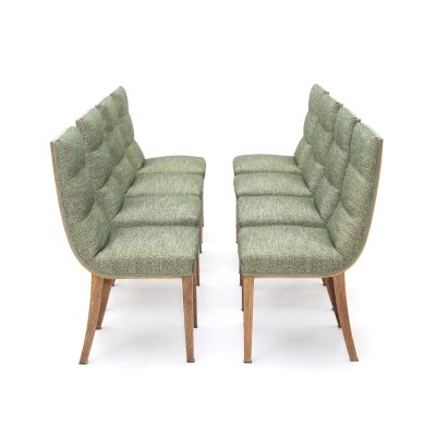 8 chairs in wood & green fabric, 1940's