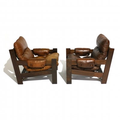 Pair of beech & leather armchairs, 1970s