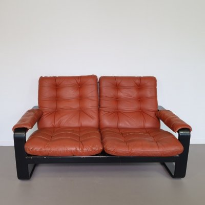 Two seater sofa with leather cushions, 1970s