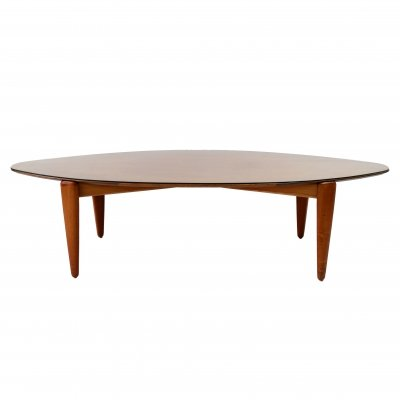 Teak coffee table with glass top, 1960s
