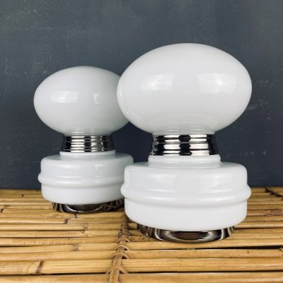 Pair of vintage white table lamps, Italy 1980s