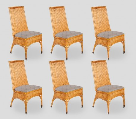 Set of Six Bamboo Dining Chairs, Italy 1970s