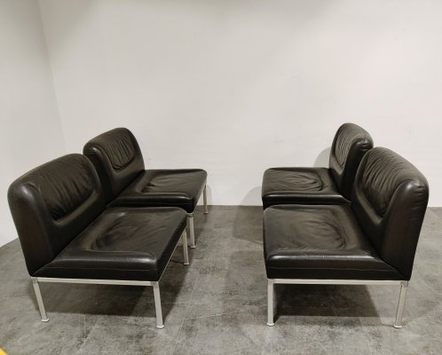 Set of 4 leather lounge chairs by Lübke, 1970s
