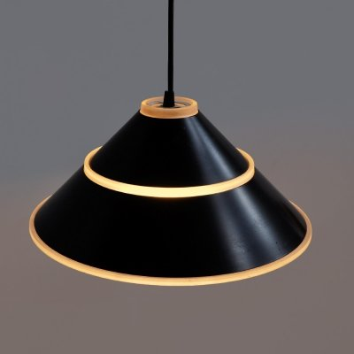 Set of 1970s hanging lamps with pressed glass hood covered with black metal rings