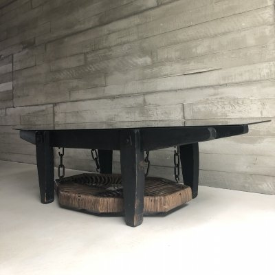 Extraordinary shaped brutalist coffee table with glass top & wicker basket on chains