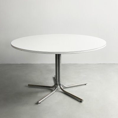 Circular White Melamine & Chrome Dining Table by Pascale Mourgue, c.1960