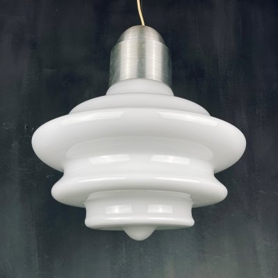 Large mid-century opaline white glass hanging lamp, Italy 1960s