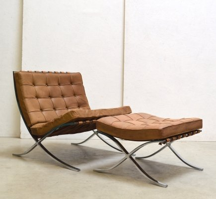 Rare Cognac Barcelona Chair & Ottoman by Mies van der Rohe for Knoll, 1960s